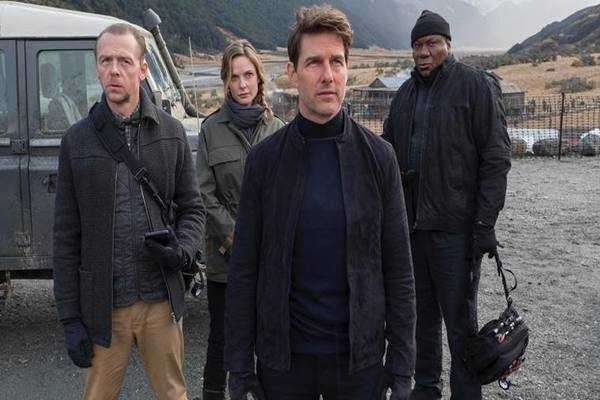 Film Mission Impossible-6 showed on a 600-meter-high rock