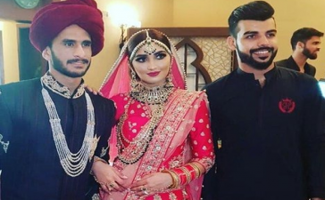 Hassan Ali along with wife and Shadab Khan