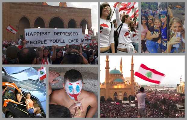 LebanonProtests - A Large Number of People Togathered