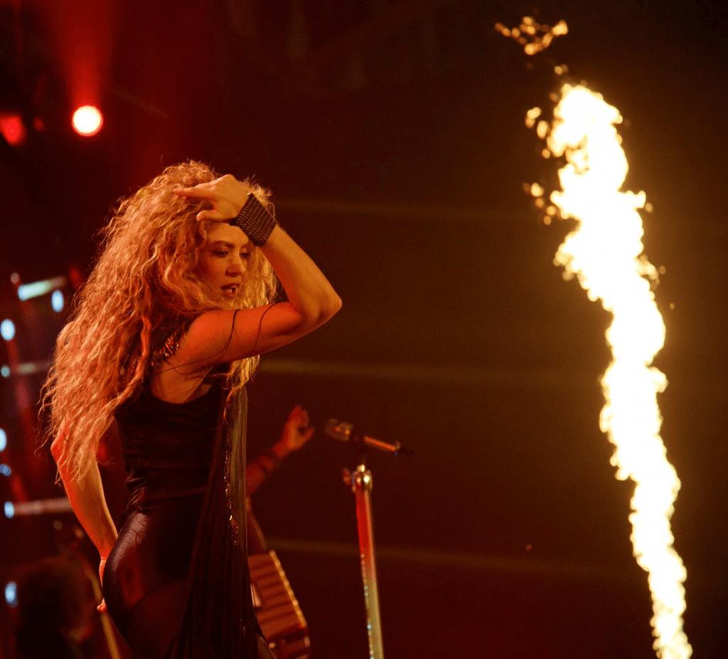 Pop icon Shakira singing