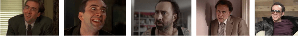 Nicolas Cage different action poses