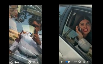 woman misbehaving with traffic police