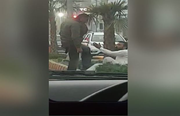 Violently attacking person
