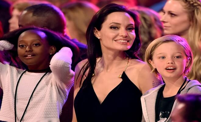 Angelina Jolie and their children