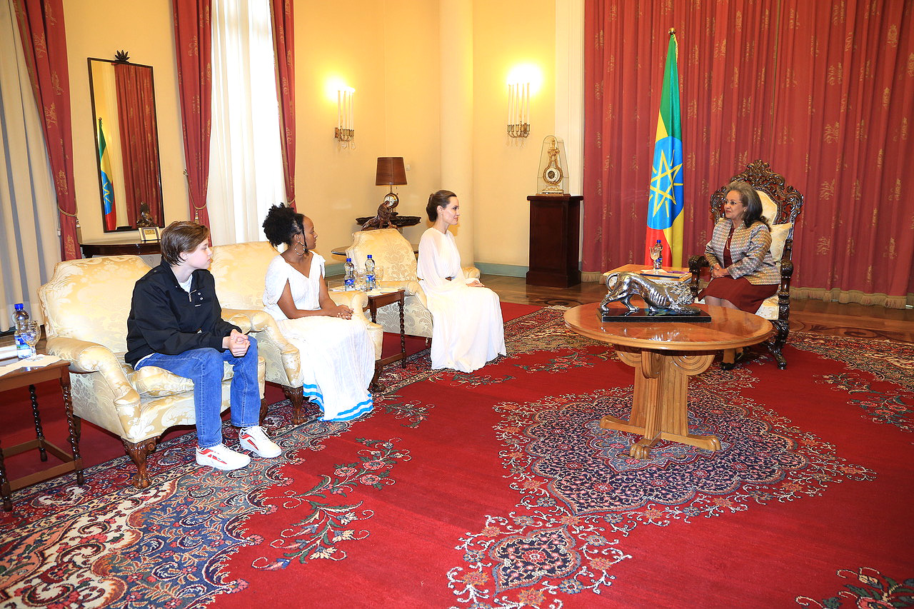 Angelina Jolie and kids with Sahle-Work Zewde