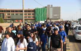 walks at Ilmathon in support of Education