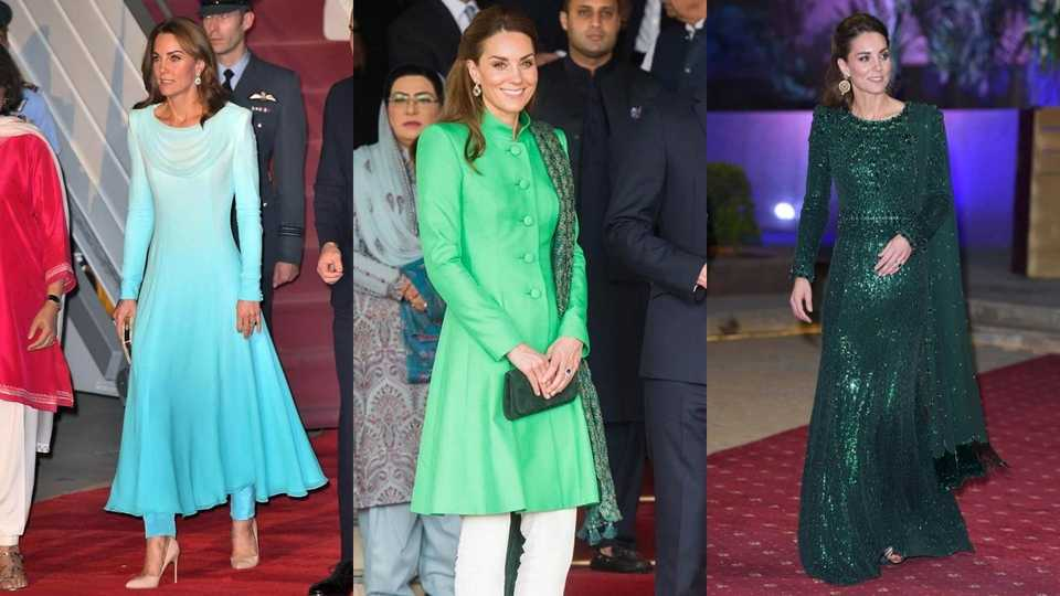 Kate Middleton in different dresses