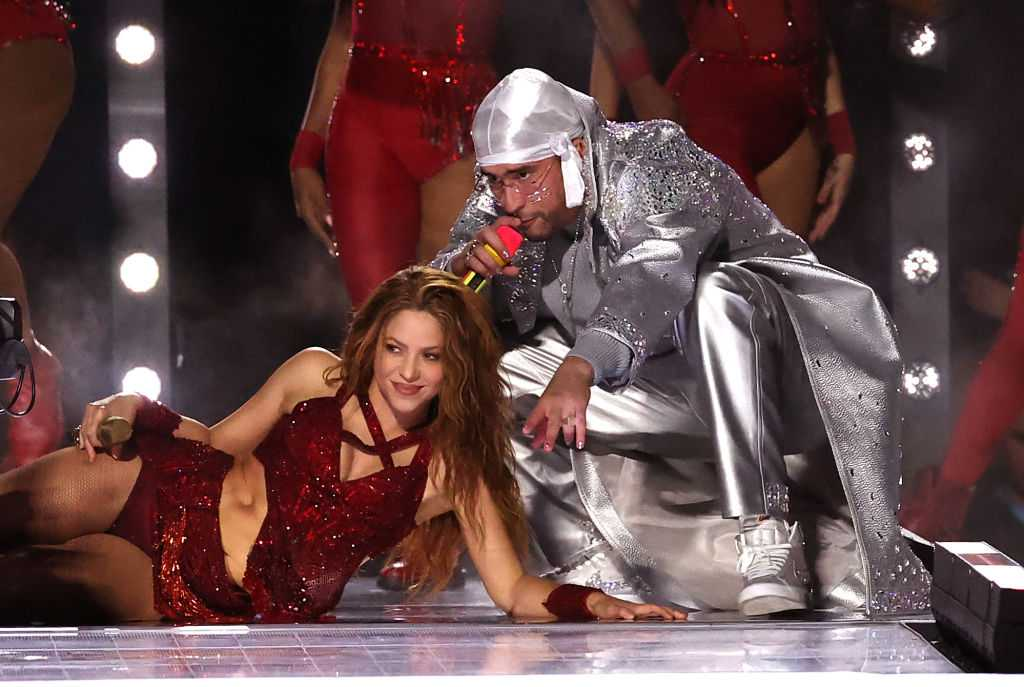 Shakira while performing