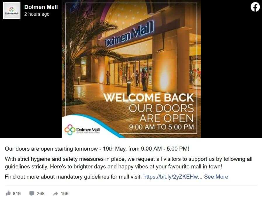 dolmen mall open timing