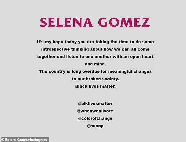 selena gomez statement