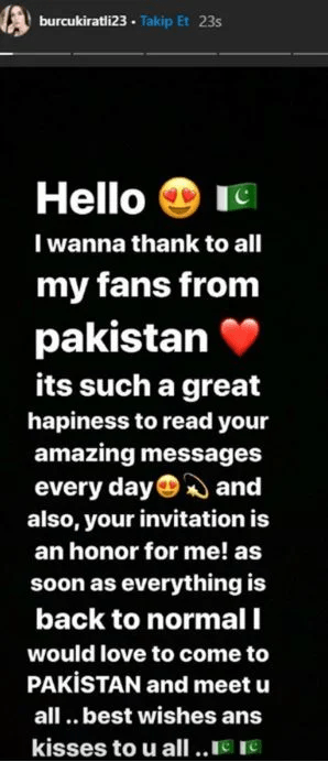Burcu Kiratli instagram message