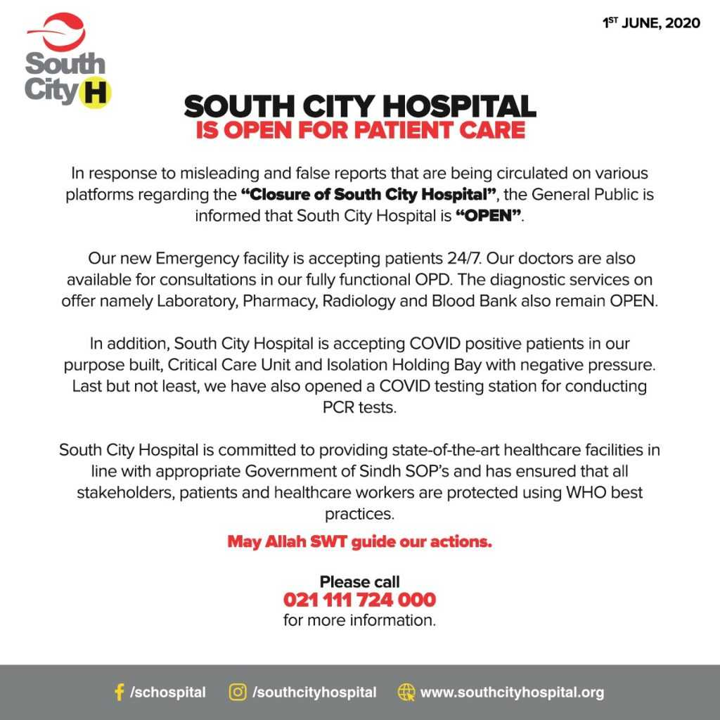 South City Hospital official statement