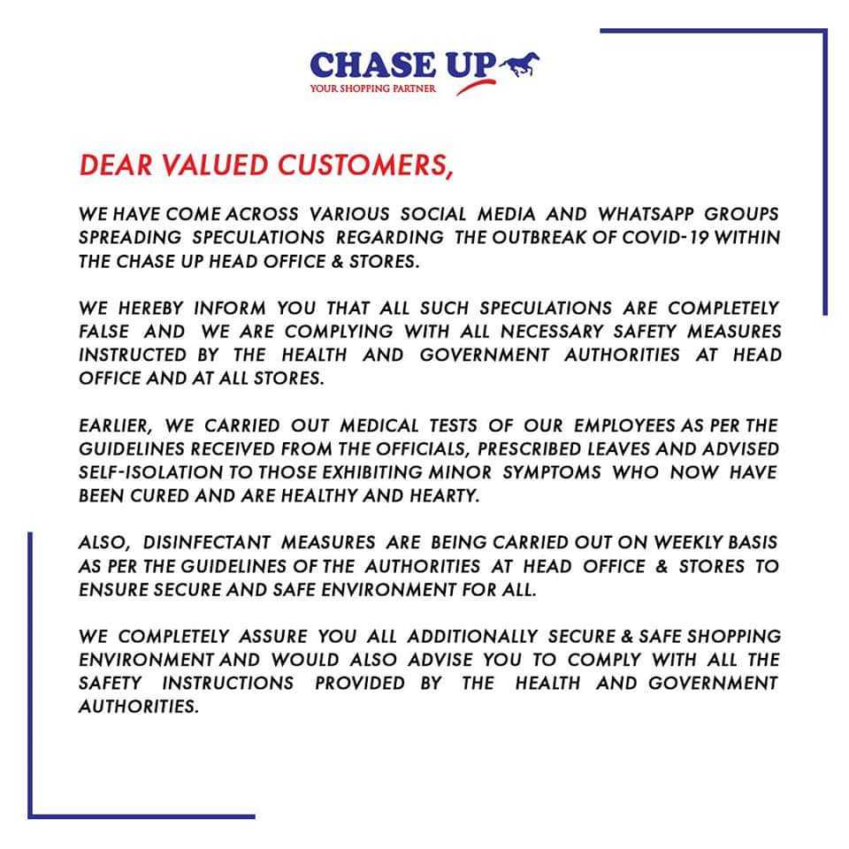 chase up official statement