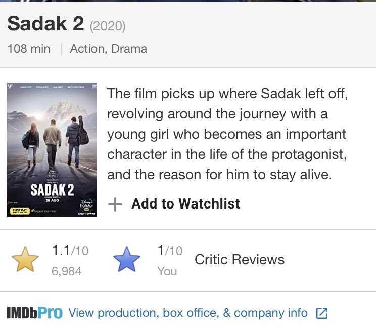 sadak 2 rating