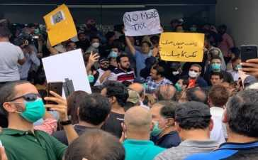 protest in front of cbc office