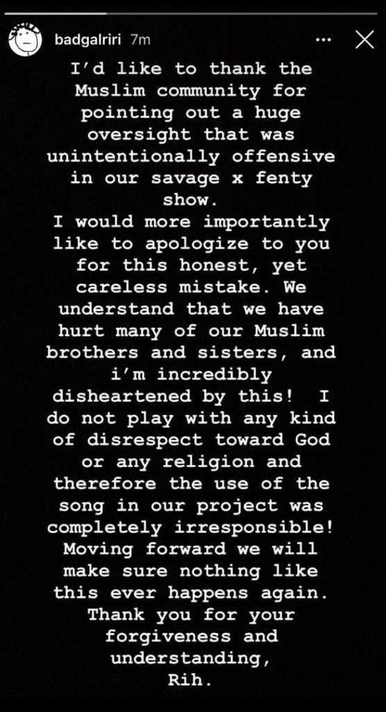 Rihanna's apology post