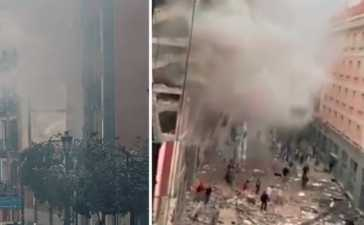Strong explosion rocks building