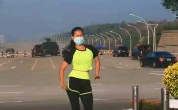Myanmar's Aerobics instructor filming workout routine