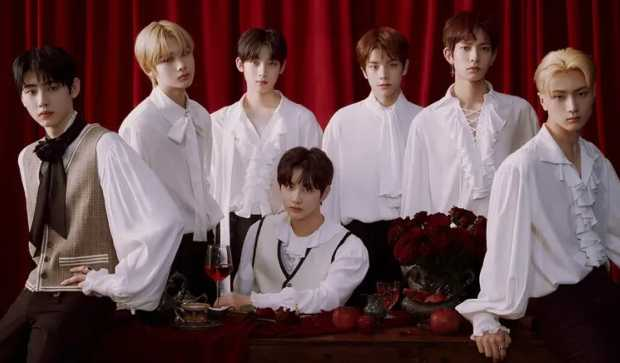 Sunoo, Heeseung, Jake, Sunghoon, Jay, Jungwon, and Ni-ki