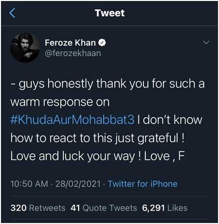Feroze Khan Tweet