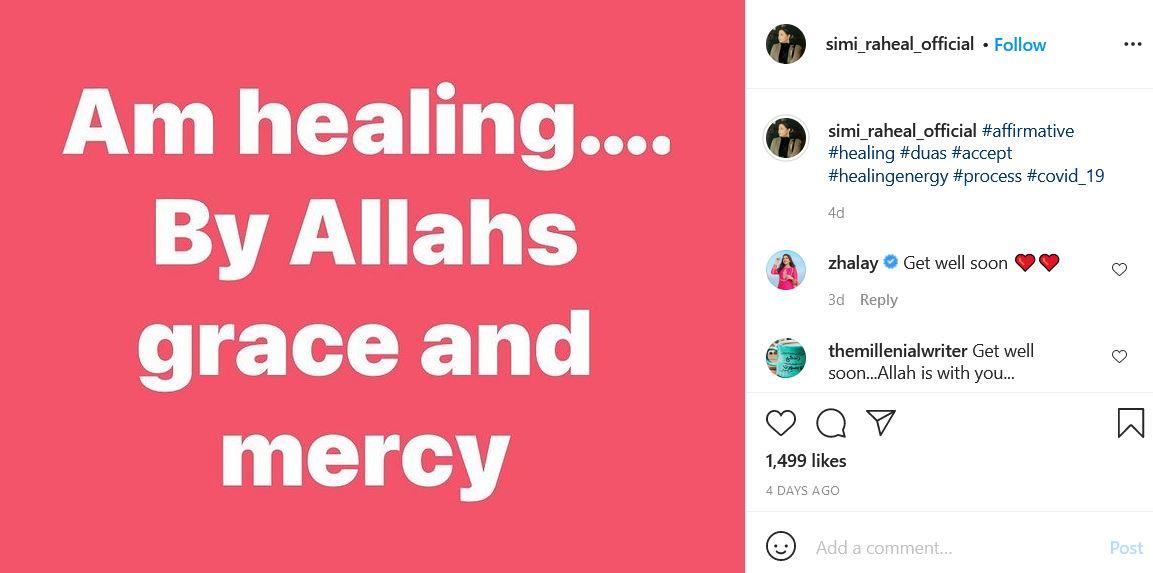 Simi Raheal Instagram post