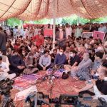 Journalists stage sit-in protest outside the parliament house against proposed PMDA