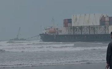 Stranded cargo ship