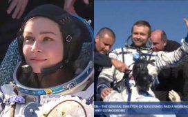 Russian crew return to Earth