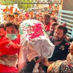 Umer Sharif's coffin wrapped in national flag reached Karachi